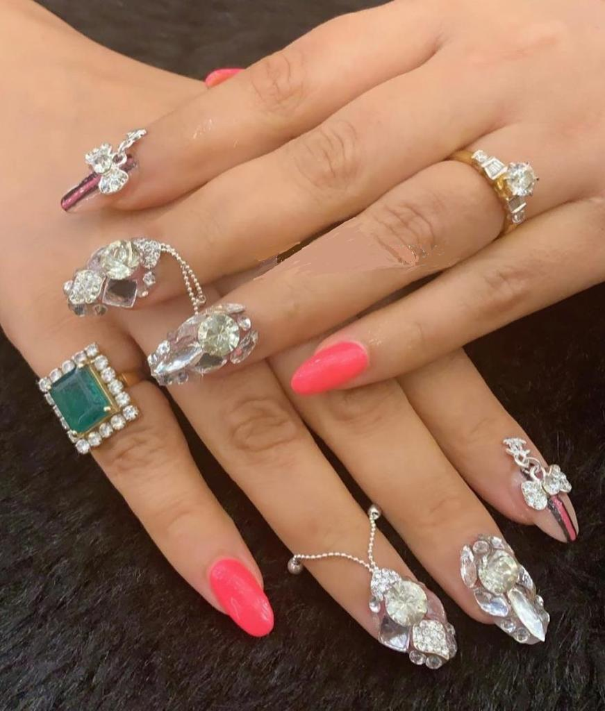 3D heavy studded jewel embedded nail art for brides