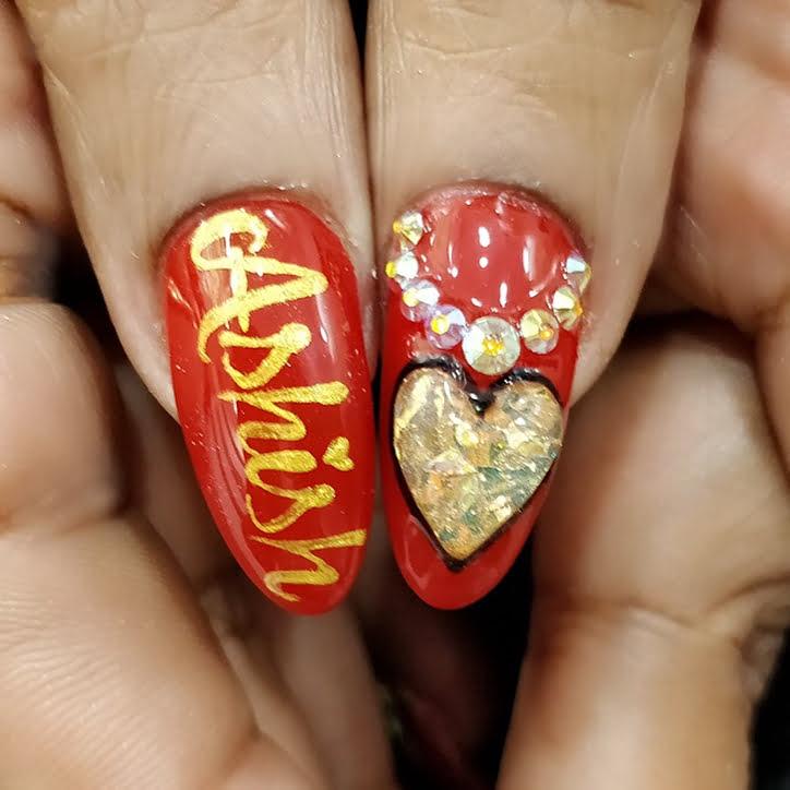 red golden bridal name print nail art