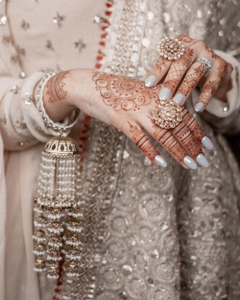 matt silver aesthetic bridal nails