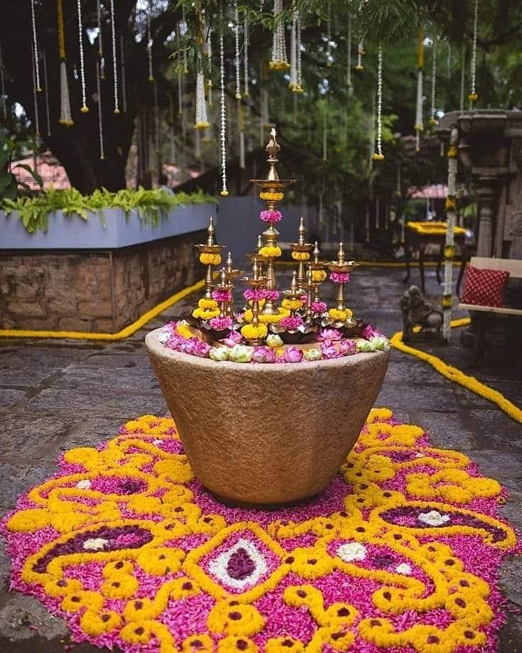 marigold roses wedding flower rangoli decor