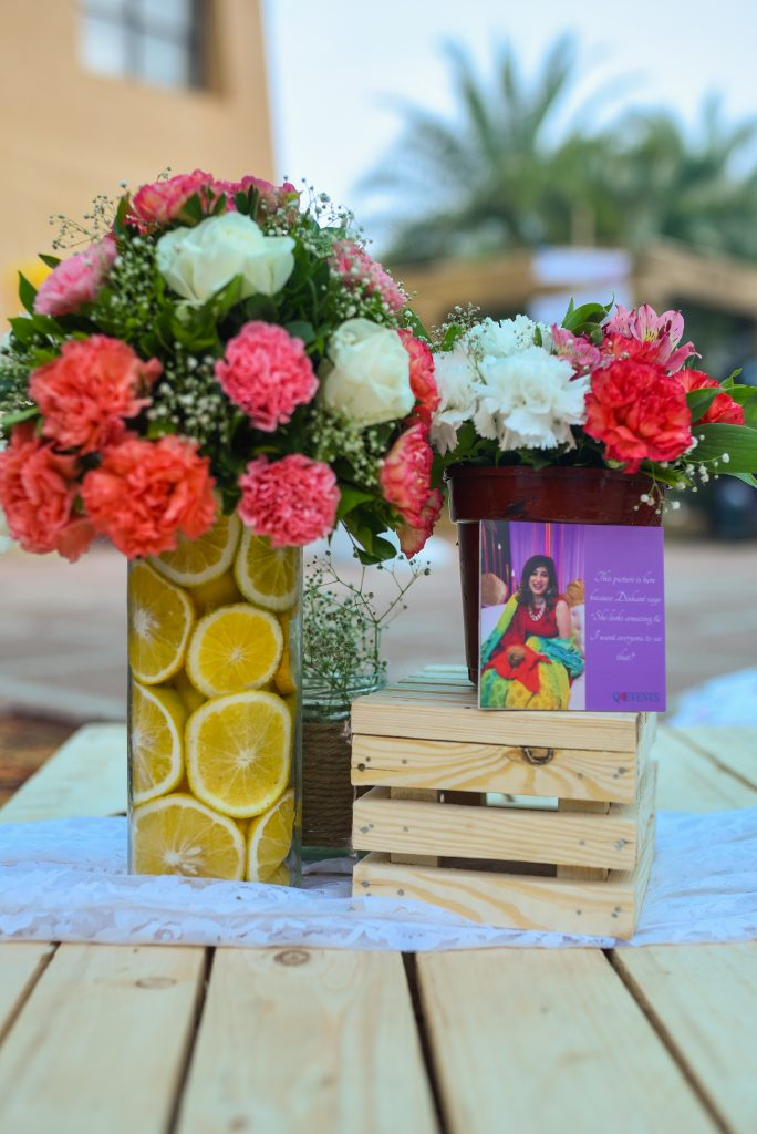 lemon print glass jar with flower bouquet
