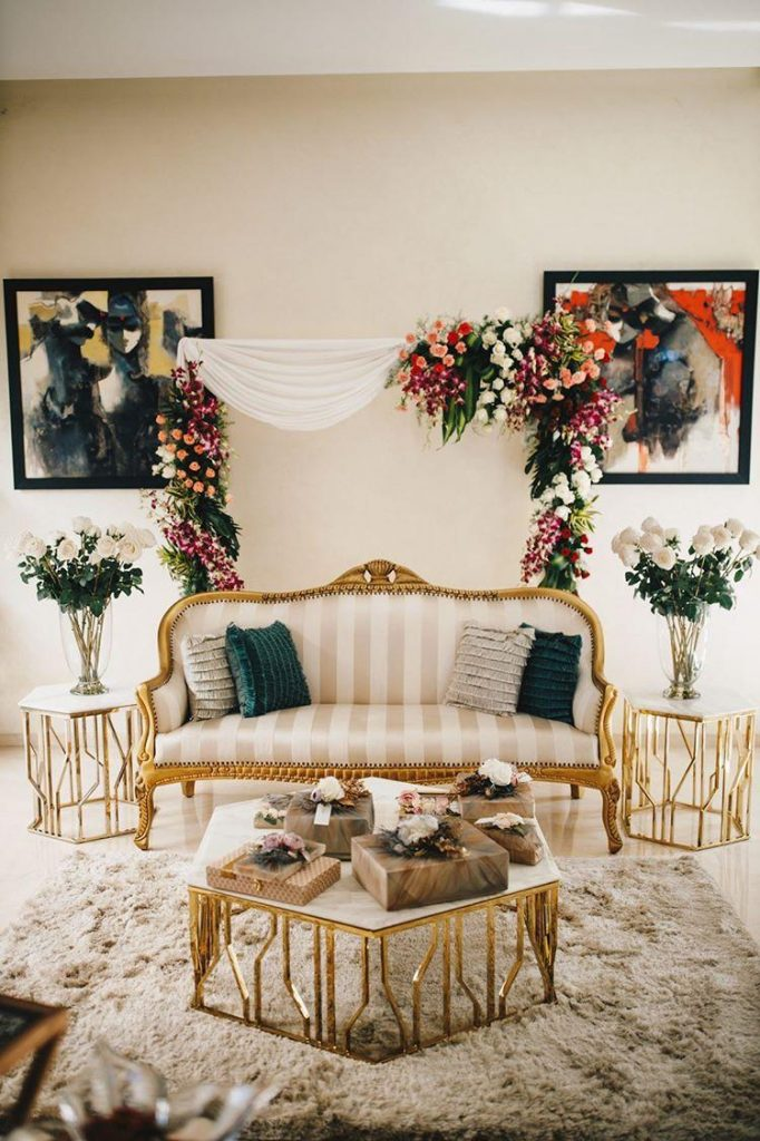 aesthetic indoor wedding decor floral arch for seating arrangements