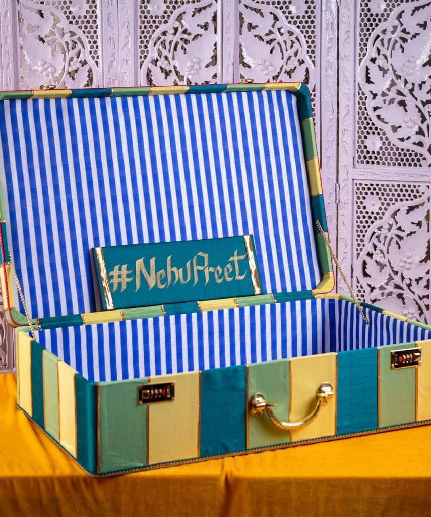 indoor home wedding trunk decoration from nehupreet mehendi