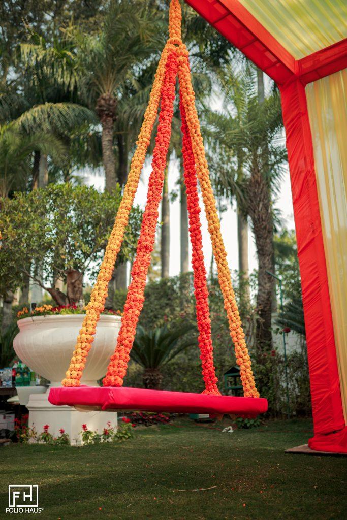 suspended marigold swing outdoor decor