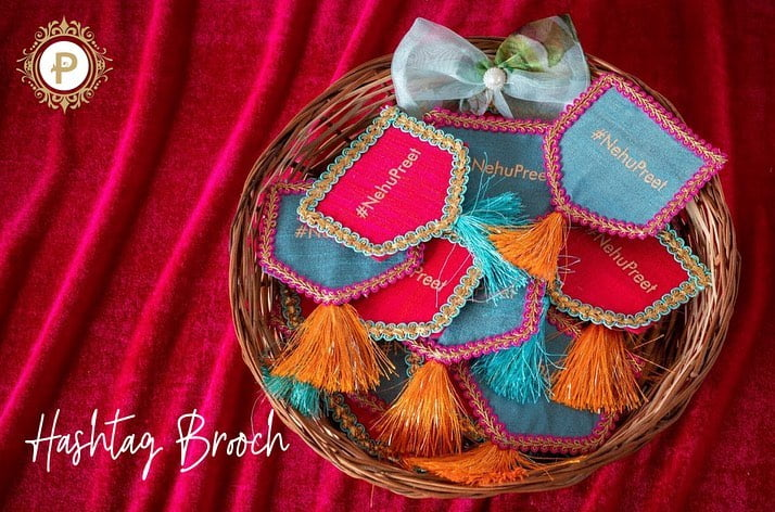 cloth nehupreet embroidered wedding gift tassels brooch in a basket