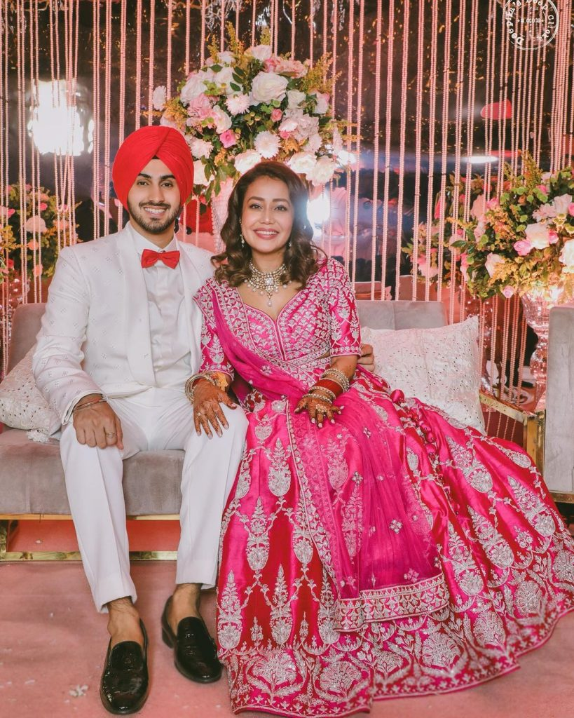 neha kakkar & rohanpreet posing for their engagement ceremony photoshoot