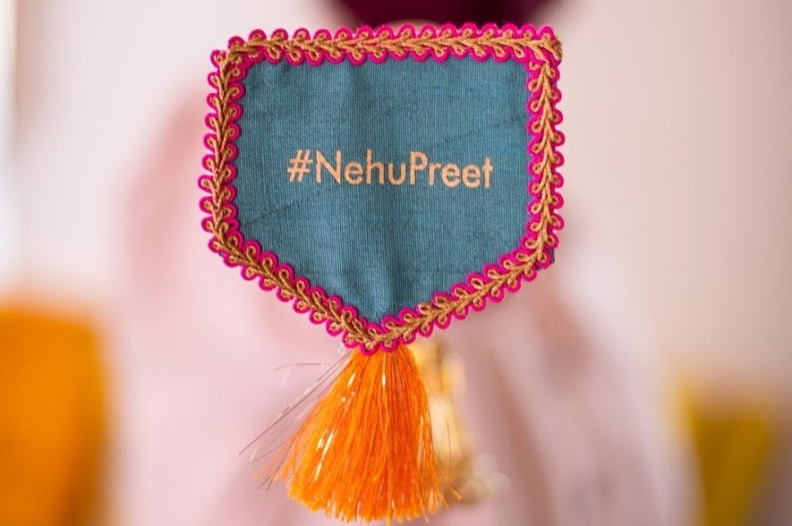 hashtag nehupreet cloth embroidered tassel brooch for neha kakkar mehendi