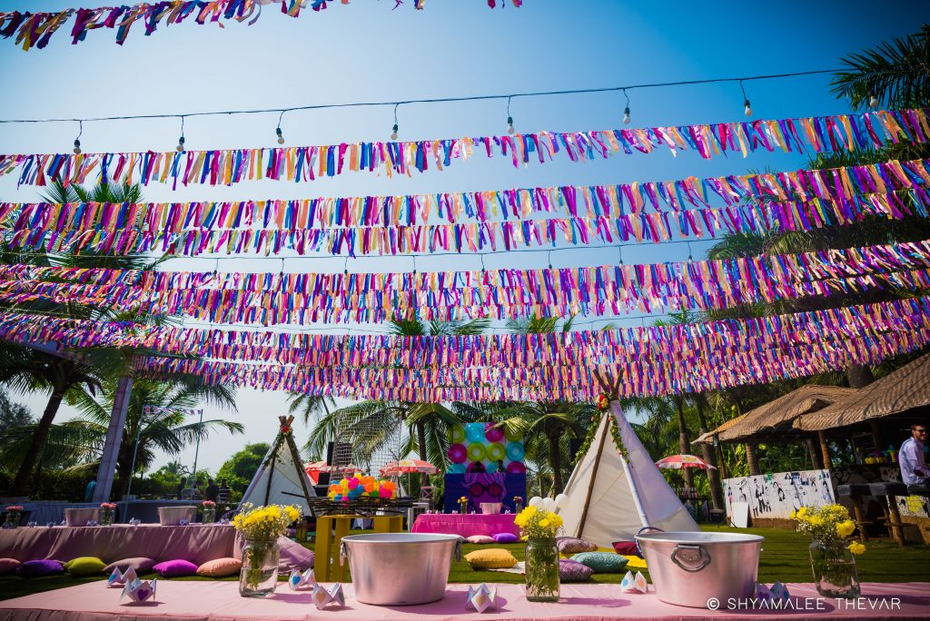 colorful paper outdoor wedding streamer decor