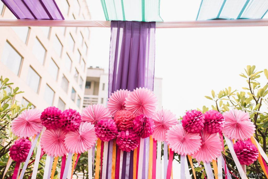 pink origami paper flower wedding home decoration