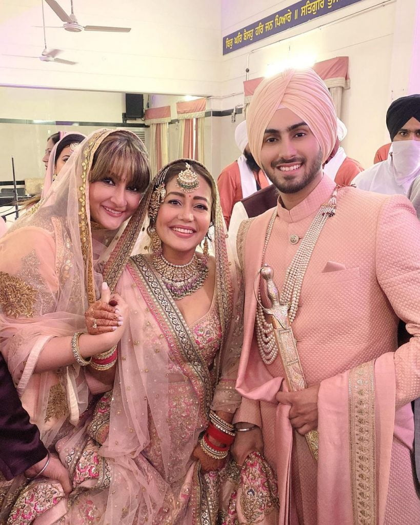 neha kakkar urvashi dholakia and rohanpreet singh in wedding ceremony