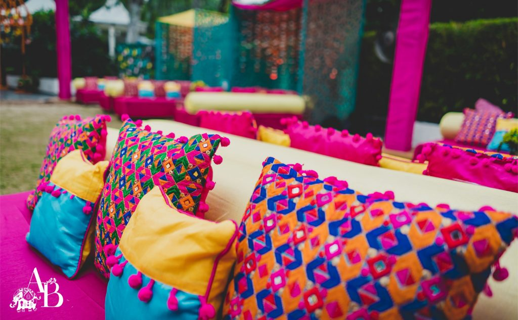 traditional indian printed pillow with sequin for home decor