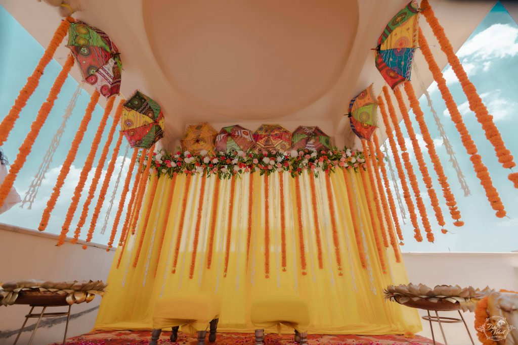 umbrella DIY ceiling decor for wedding mandap