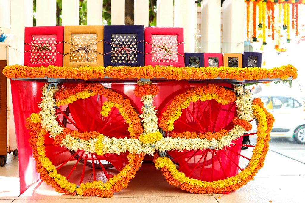 marigold laden gift & wedding favour storage trolley