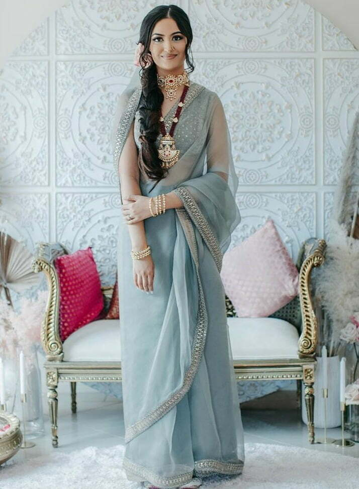 sheer grey georgette sabyasachi plain saree for bride mehndi outfits 2020