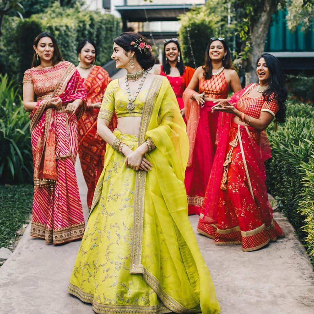 2020 sabyasachi yellow bridal mehndi lehenga