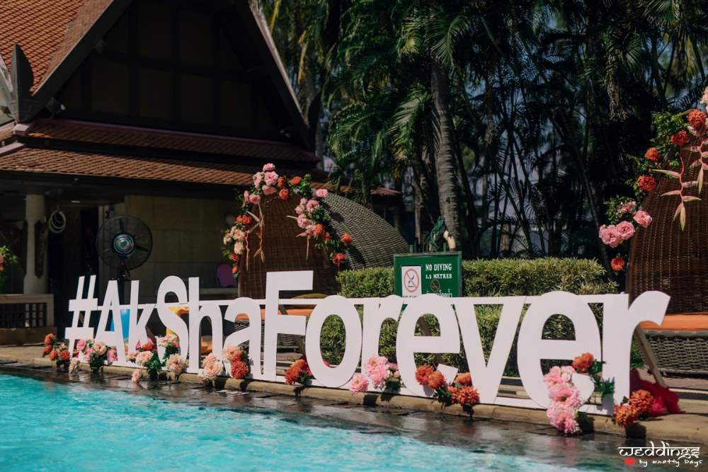 Hashtag #akshaforever at Akhil & Shalini's pool party before Dusit Thani Hua Hin wedding