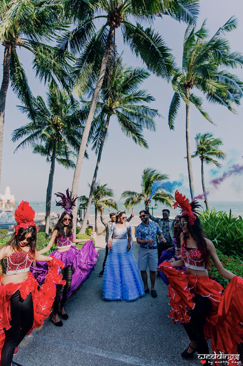 Beautiful Pool Party Entry of Shalini & Akhil with colourful smoke bombs and dancers at Hua Hin, Thailand