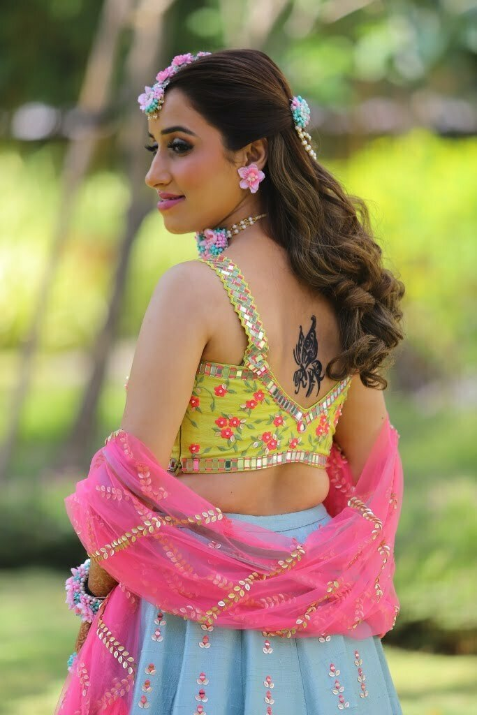 Yellow Crop Top Style Choli Blouse for haldi ceremony