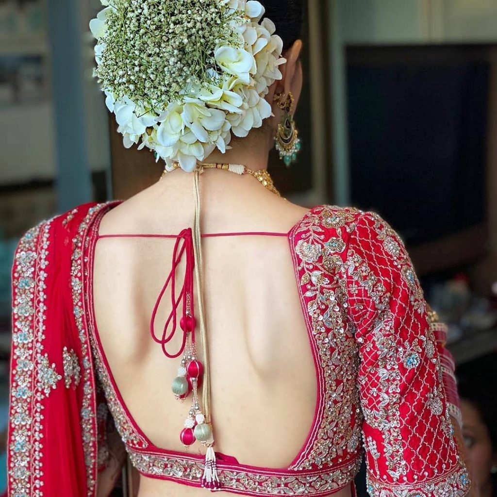 Red Deep Cut Blouse Back Style For  Wedding Ceremony