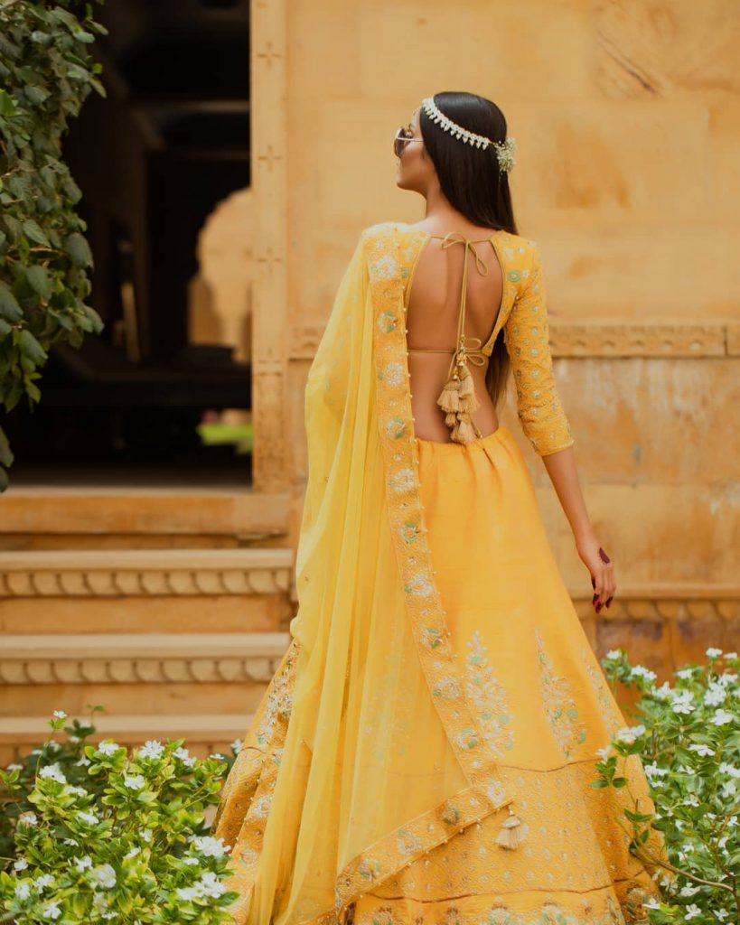 Sunny Yellow Modern Lehenga Blouse Back Design For Haldi & Mehendi Ceremony