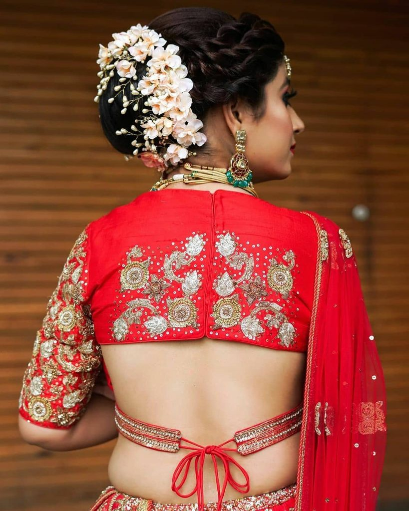 Modern Backless blouse with dori tie up for Red Bridal Lehenga