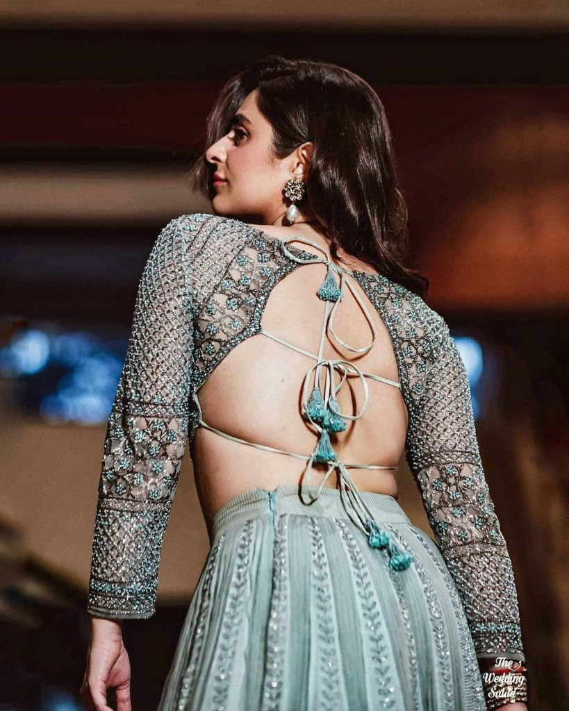 Backless Blouse with Multiple Tassel doris bridal blouse For embroidered lehenga