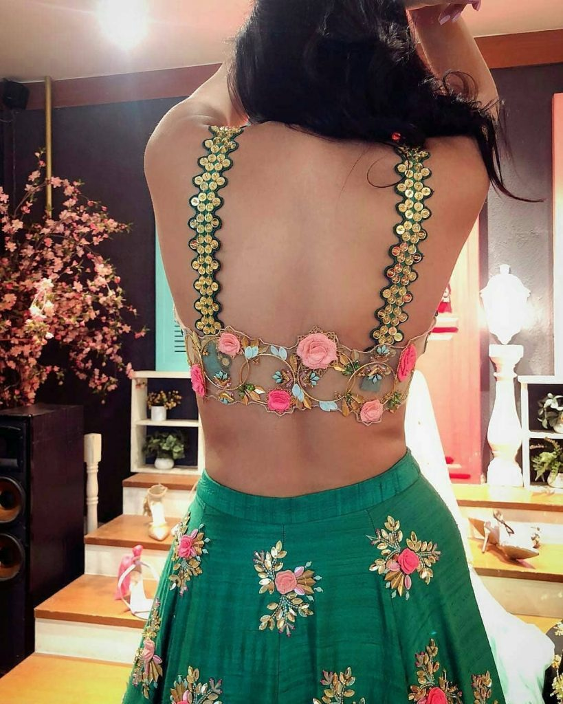 Floral OTT blouse back design for haldi ceremony