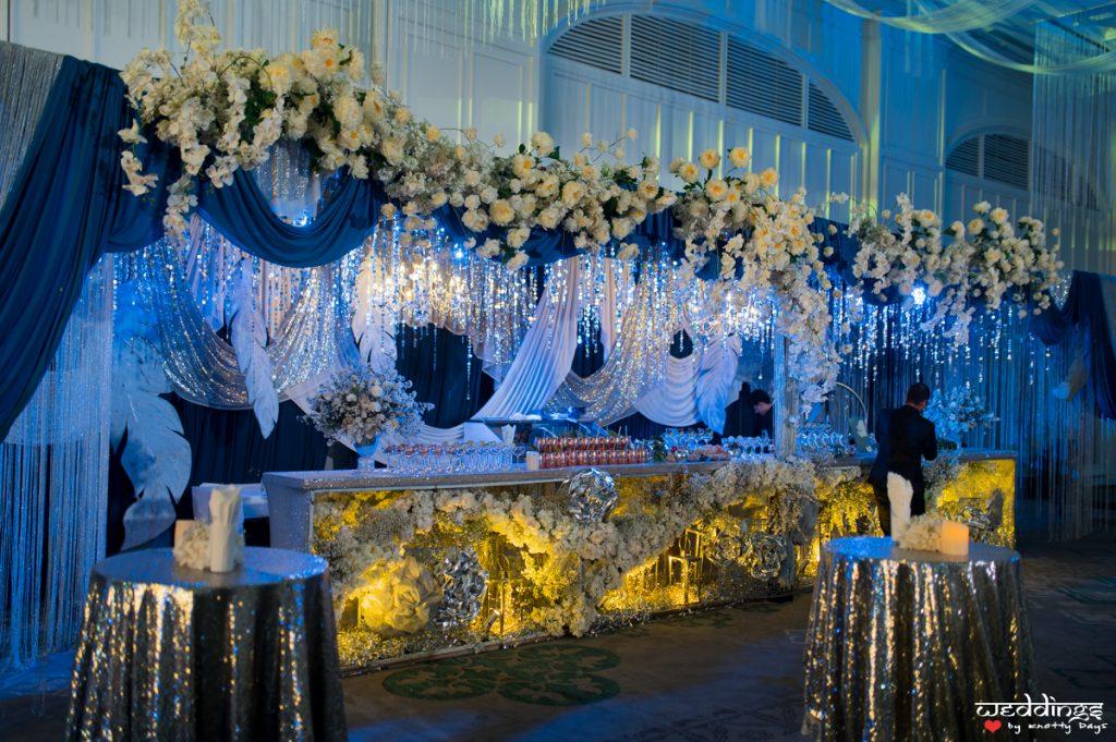 Grand shimmery decor at Shalini & Akhil's sangeet