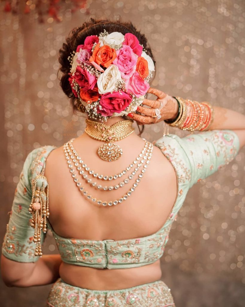 Traditional Pista Backless Bridal Blouse Design For Embroidered Lehenga