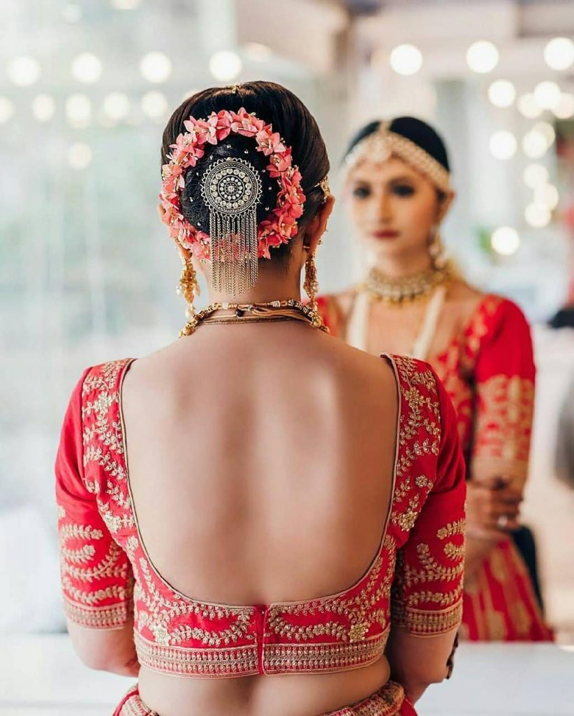 Traditional Backless Blouse Design With Heavy Embroidery For Bridal Ceremony