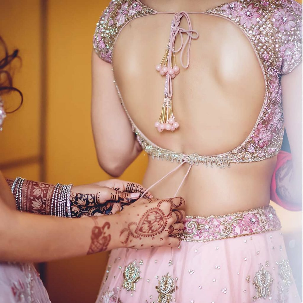 Pale pink Two Doris Deep Back Blouse Style for Heavy Embroidered Lehenga
