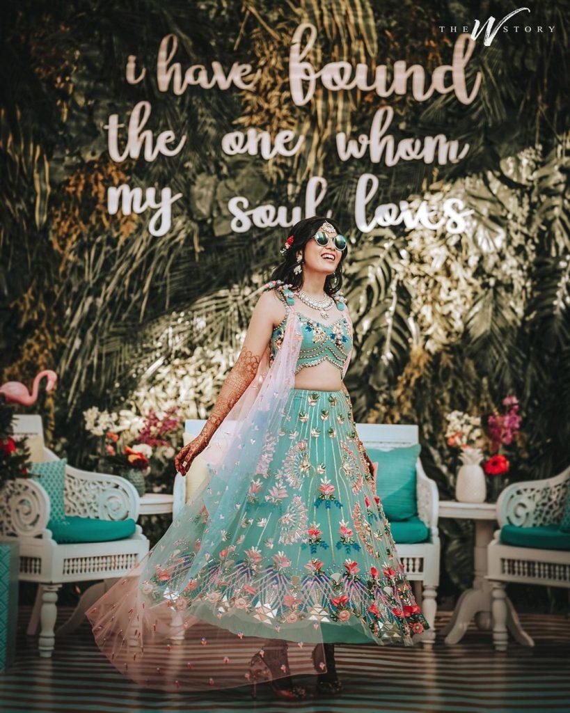 pastel blue sequin glass bead work glitter lehenga mehendi outfits for bride