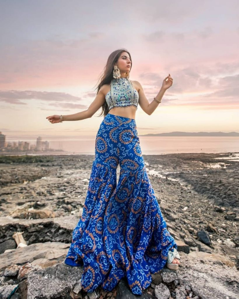 Sleeveless Silver Brocade Crop Top And Printed Cobalt Blue Sharara For Modern Mehndi Outfits