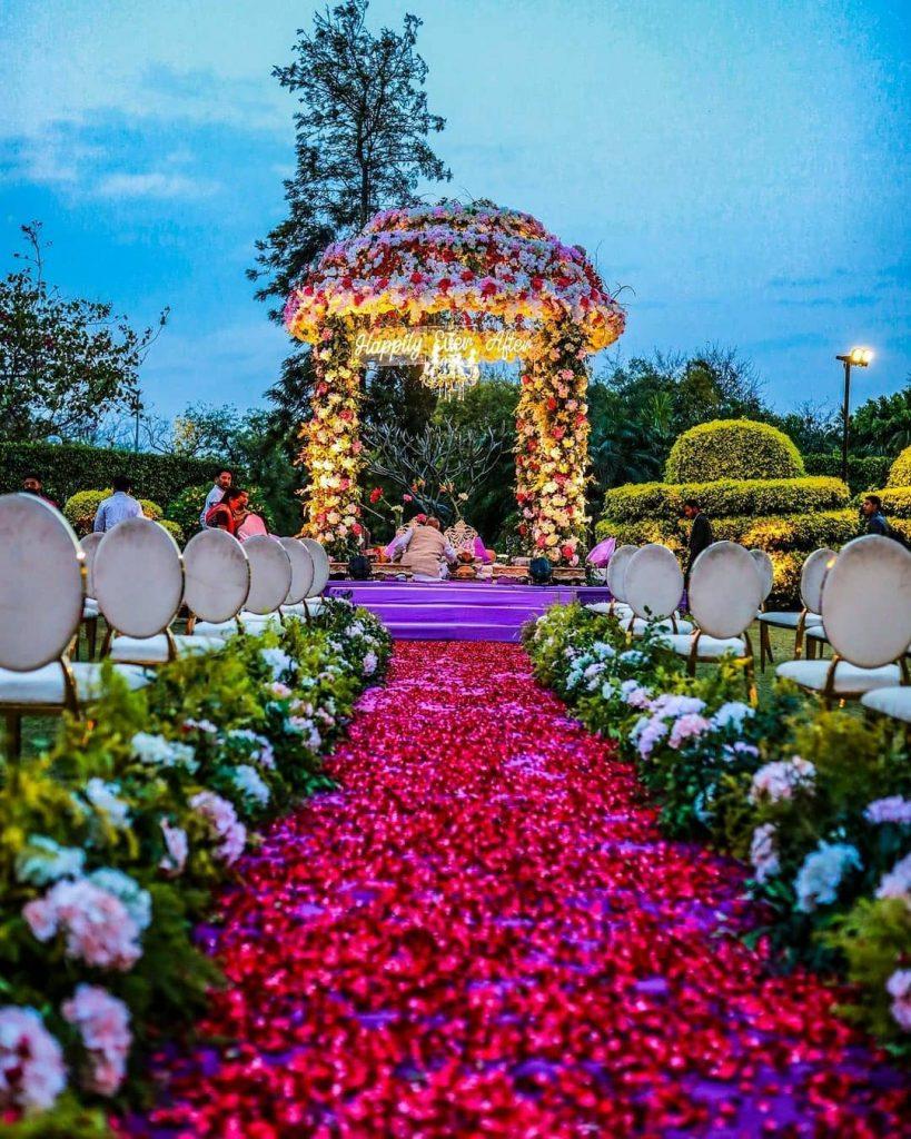 fairytale floral dome ceiling vidhi mandap design