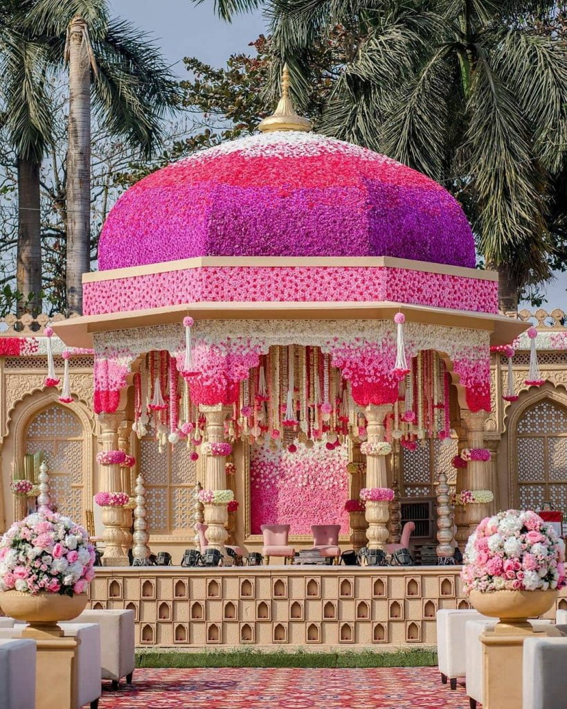 pink dome ceiling grand mandap decor