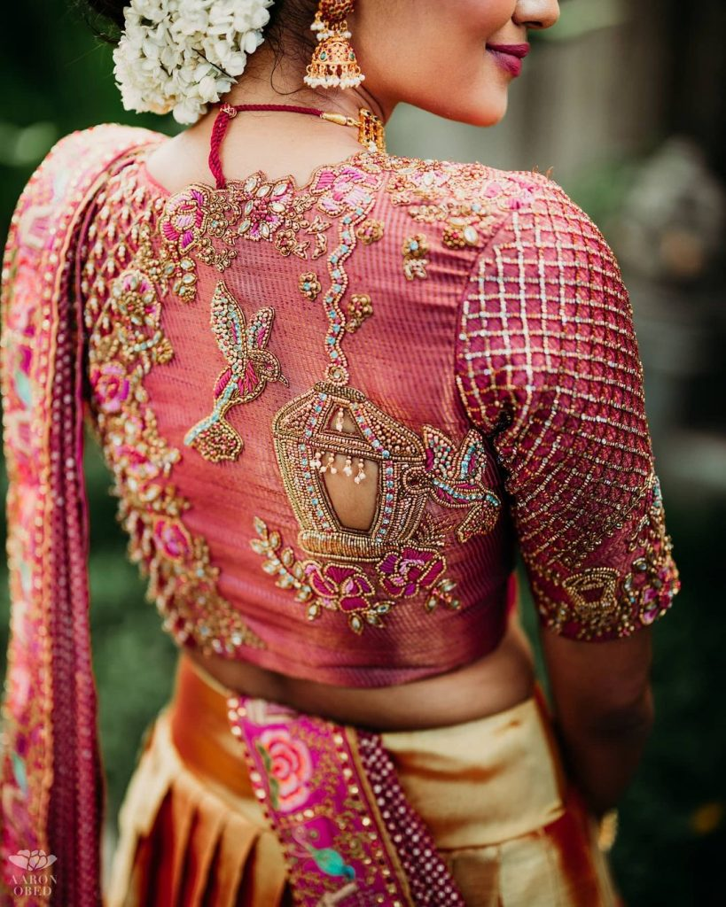 Latest hand embroidered bridal blouse back design for wedding