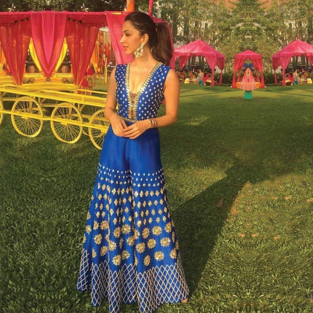 blue ethnic mehendi jumpsuit for bride