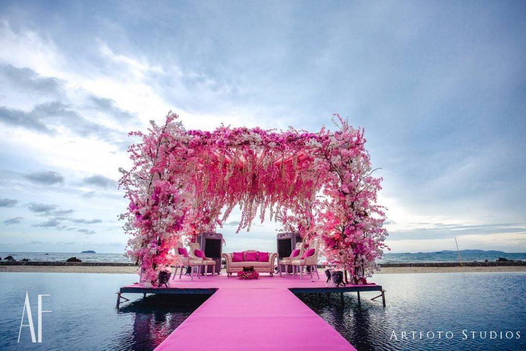 pink floating vidhi mandap decoration