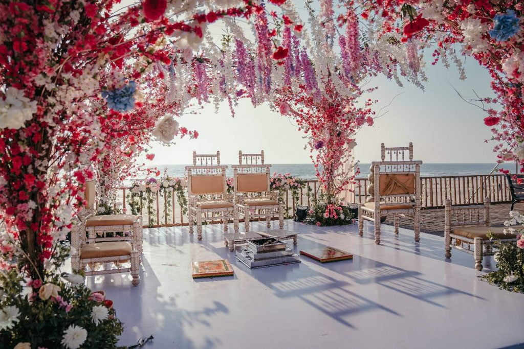 seaside marriage mandap style decked with flowers