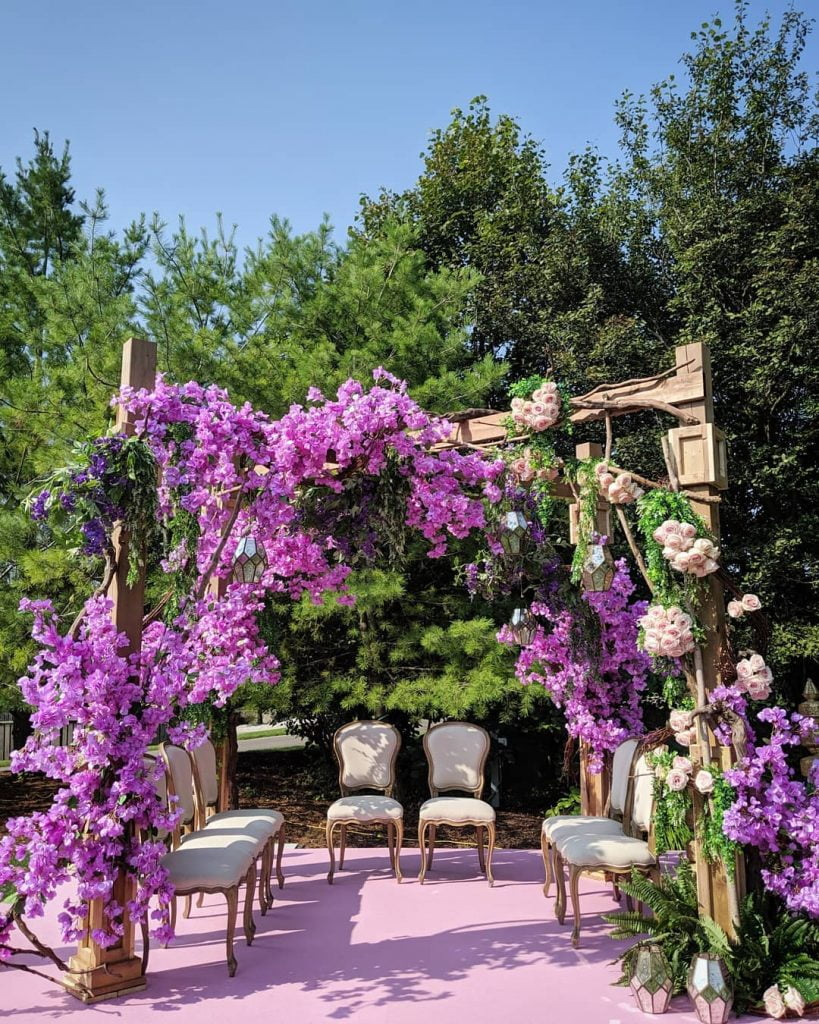 garden mandap decoration idea with lavenders