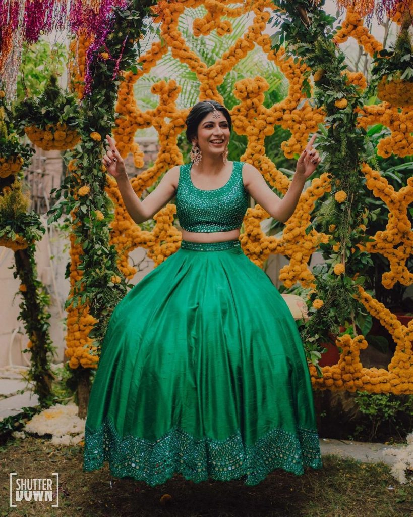 plain green dress mehendi outfits for bride
