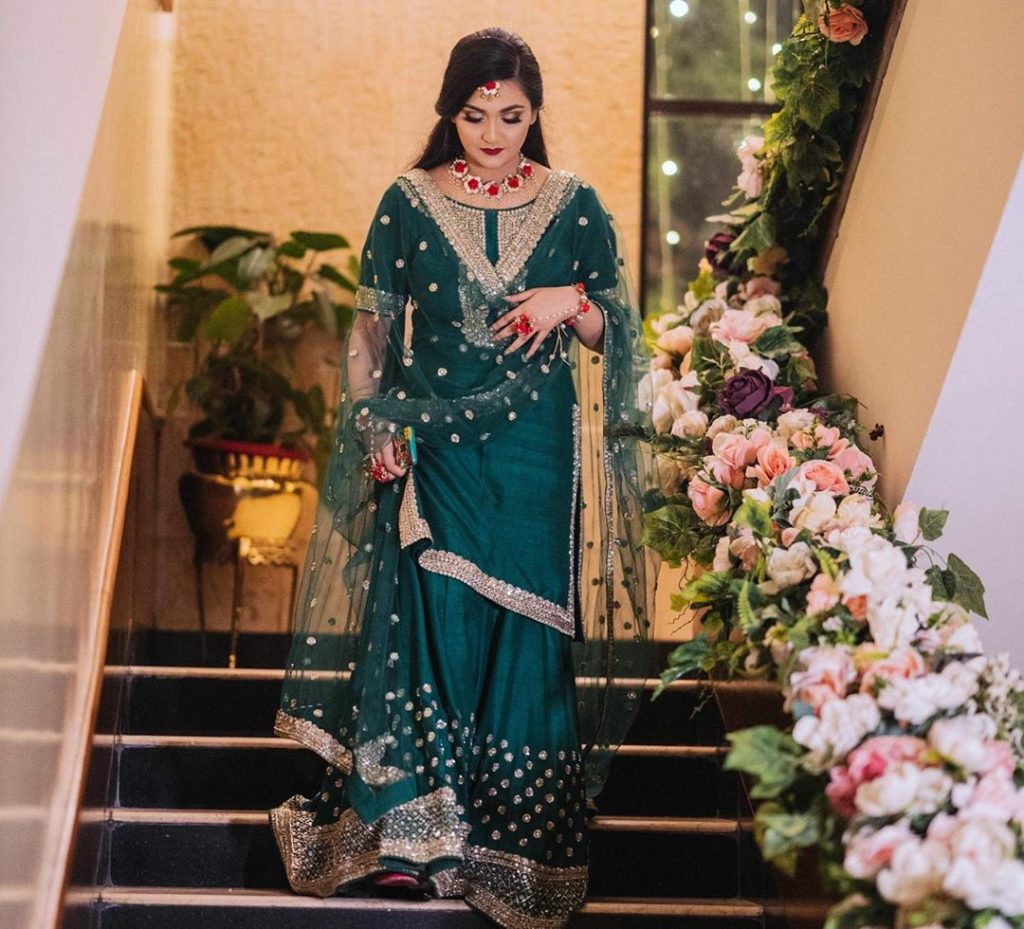 mehendi green kurta with palazzo for bride