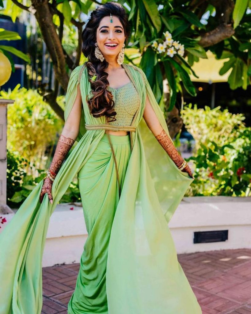 green dhoti pants caped blouse offbeat mehendi outfit