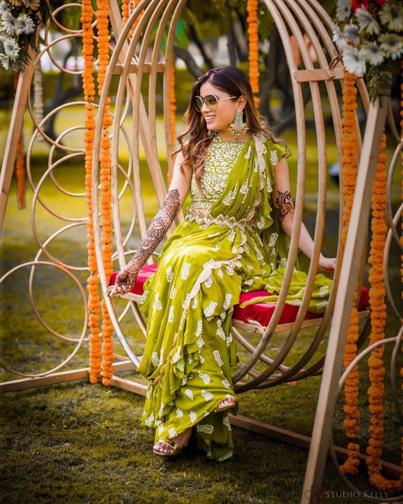 green ruffle border mehendi saree with kamar bandh