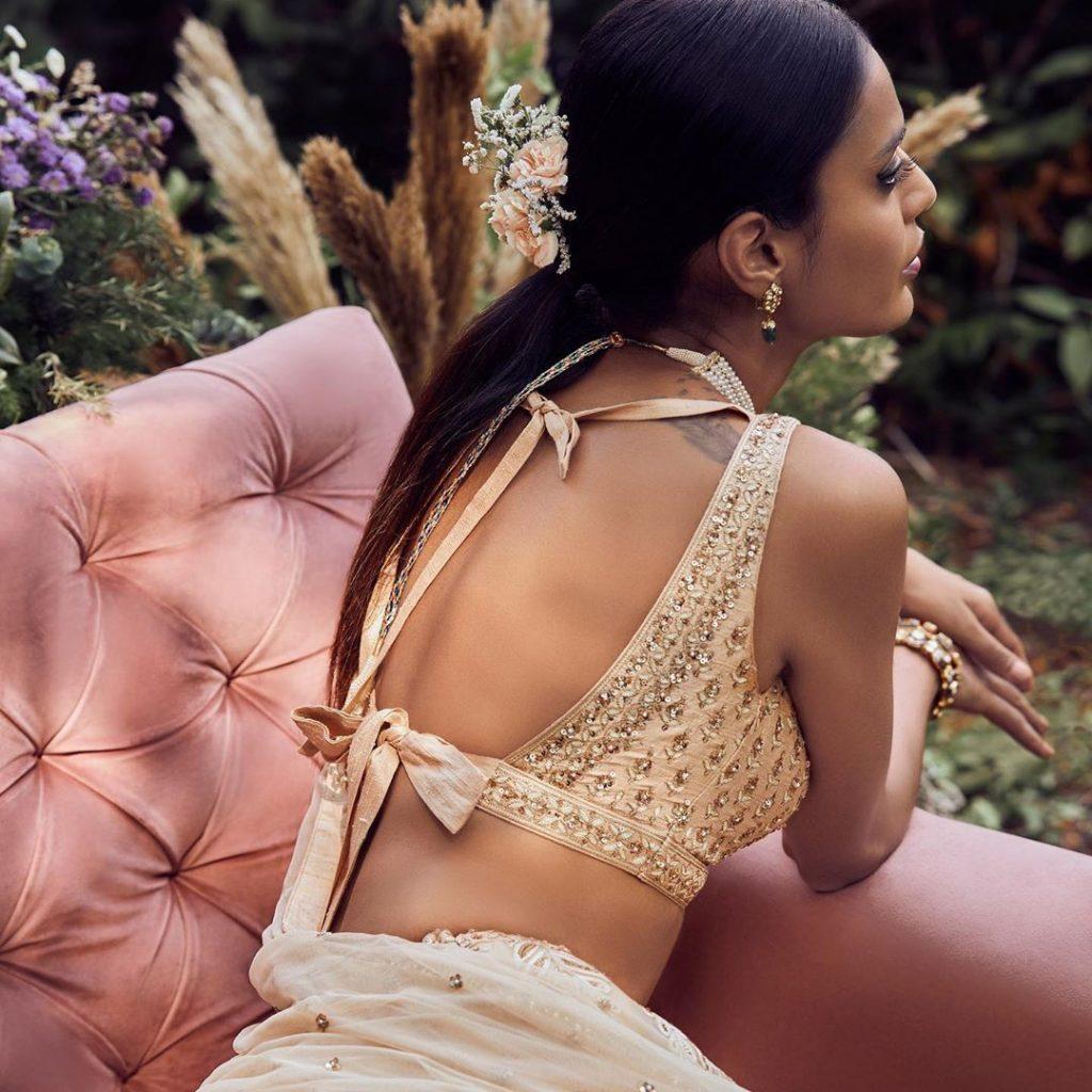 Golden Beige Embroidered Blouse Back Design For Bridal Events