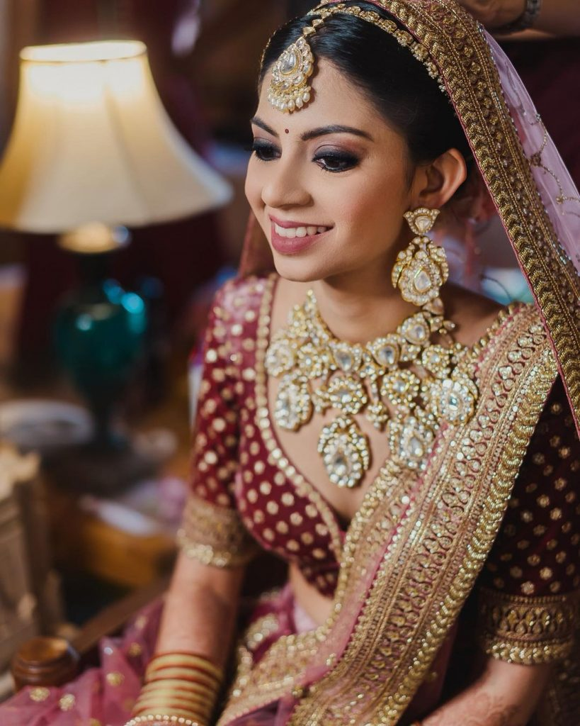 matching diamond jewellery with maroon lehenga