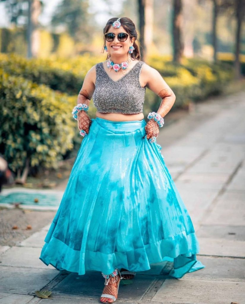 silk blue lehenga with silver glitter top mehendi outfits