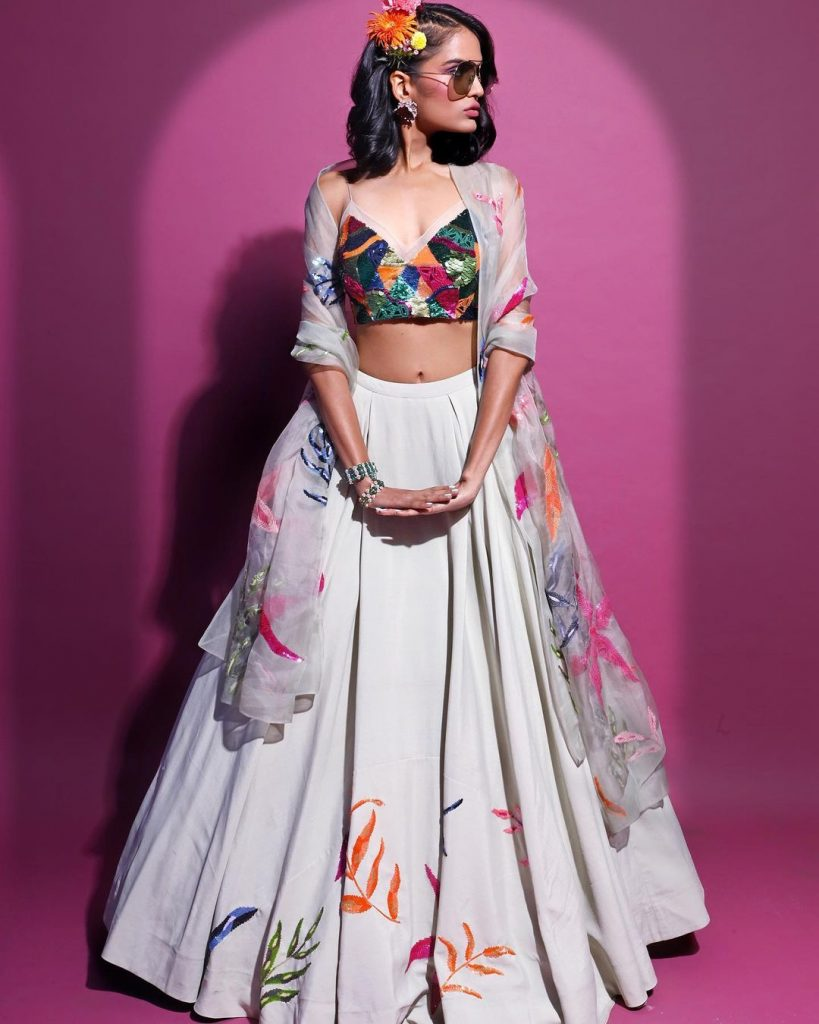 sequin patchwork crop blouse with long white skirt and sheer embroidered dupatta mehndi dress style for bride