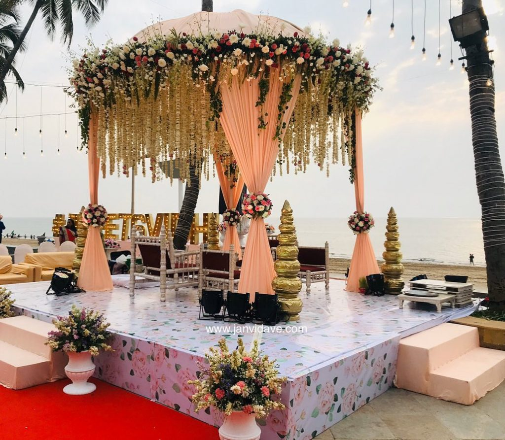 outdoor peach dome ceiling mandap
