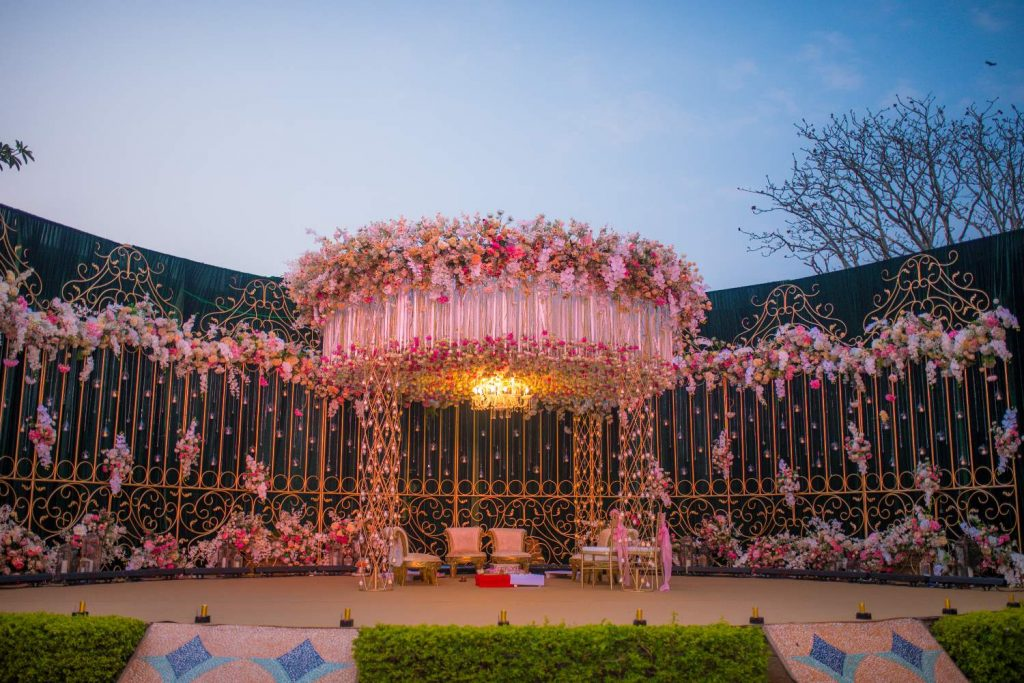 pink mandap style with flowers